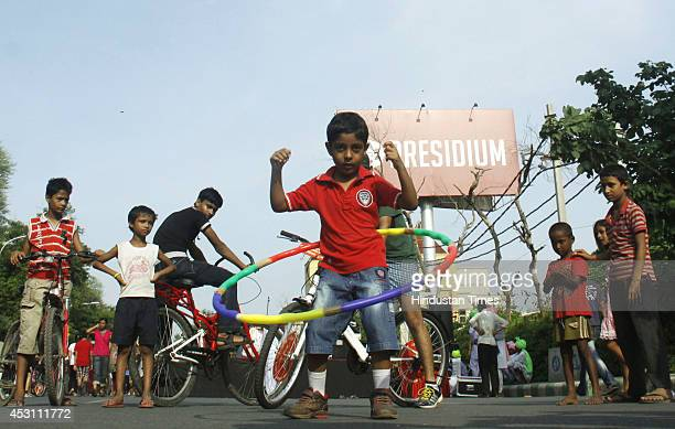 Children participate on the Raahgiri Day organised by the Gurgaon administration along with support from EMBARQ India Pedal Yatris NMT group the...