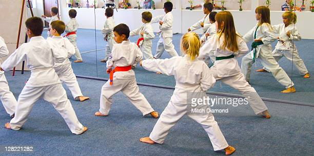 Children participating in karate workout