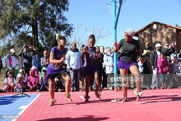 Children perform a dance during the NBA Cares Court Dedication as part of the Basketball Without Boarders program on July 31 2015 at the SOS...