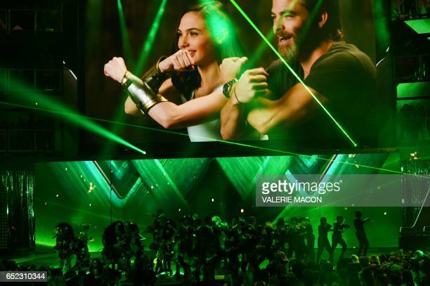 Children perform on stage at the 30th Annual Nickelodeon Kids' Choice Awards March 11 at the Galen Center on the University of Southern California...