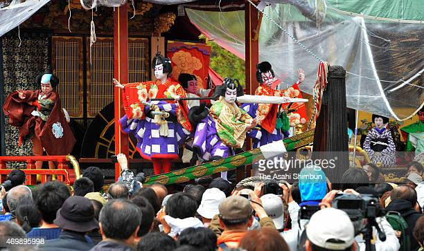 Children perfrom Kabuki on stage of the 'Hikiyama' float during the Nagahama Hikiyama Festival on April 15 2015 in Nagahama Shiga Japan