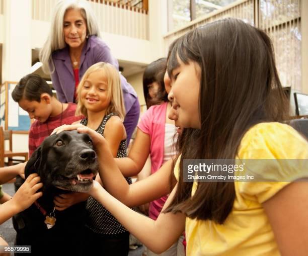 children petting dog - servicehund stock-fotos und bilder
