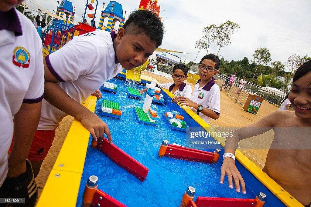 Children play a game in the Legoland Waterpark on October ...