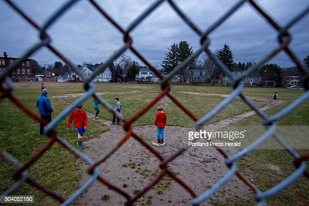 Children play a game of kickball outside the Breakwater School in the Nasons Corner neighborhood of Portland Wednesday December 9 2015