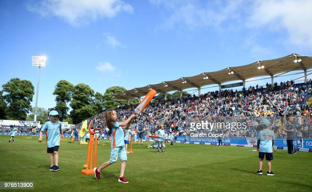 Children play allstars cricket during the break of innings during the 2nd Royal London ODI between England and Australia at SWALEC Stadium on June...