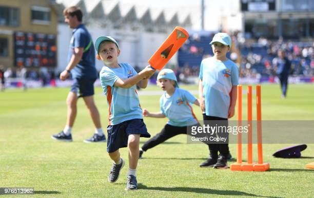 Children play allstars cricket during the break of innings during the 2nd Royal London ODI between England and Australia at SWALEC Stadium on June 16...