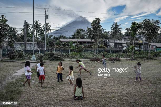 Children play at an evacuation center in Guinobatan Albay province Philippines January 25 2018 Mount Mayon the Philipines' most active volcano...