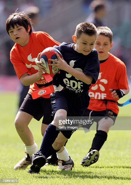 Children play at half time during the EDF Energy National Trophy match between Cornish Pirates and Exeter Chiefs at Twickenham on April 15, 2007 in...