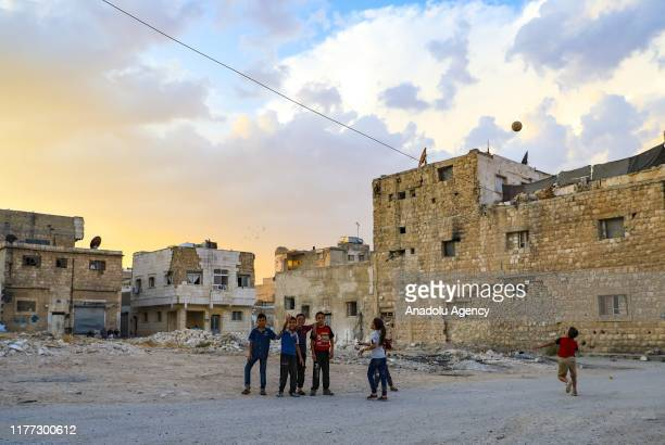 Children play at streets as the rhythm of daily life returns to normal in Al Bab district of Aleppo Syria on October 20 2019 after Turkey's Operation...