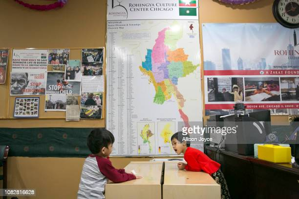 Children play at the Rohingya Cultural Center of Chicago on January 10 2019 in Chicago Illinois Chicago has one of the largest number of Rohingya...