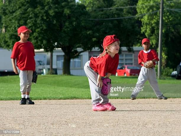 children play baseball - girl and boys - baseball team stock pictures, royalty-free photos & images