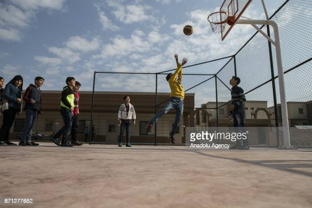 Children play basketball at newly built Child Wellness Centre located in Reyhanli district of Hatay and host 990 Syrian orphan children in Hatay...