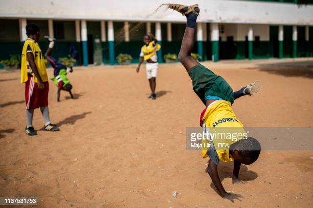 Children play during a FIFA Grassroots schools program on January 17 2019 in Dakar Senegal