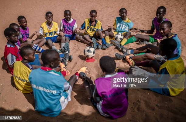 Children play during a FIFA Grassroots schools programme on January 15 2019 in Dakar Senegal