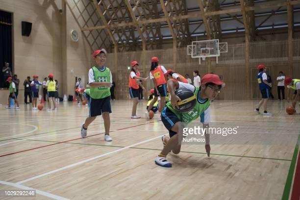 Children play during the project Sports Smile Classroom in Miyanomori Elementary School Higashimatsushima City Miyagi Prefecture September 8...
