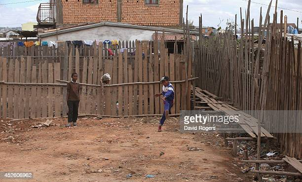 Children play football in Antananarivo on July 21 2014 in Antananarivo Madagascar