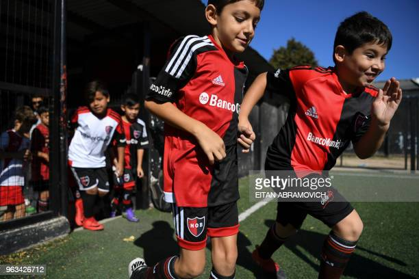 Children play football in the minor leagues of Newell's Old Boys where Argentine football star Lionel Messi used to play in Rosario Argentina on...