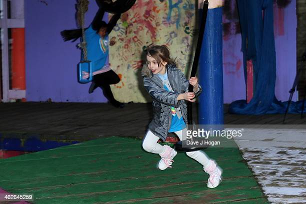 Children play in the adventure playground at a photocall at The Shadwell Community Project on January 14 2014 in London England