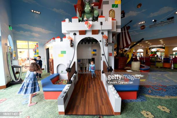 Children play in the Caslte Play area of North America's first ever Legoland Hotel at Legoland on September 17 2013 in Carlsbad California The...