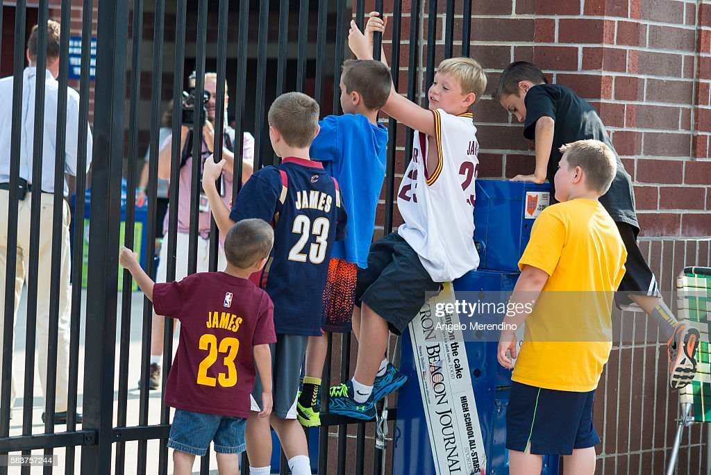 Children Play On The Gates Outside Of Infocision Stadium August 8 2014