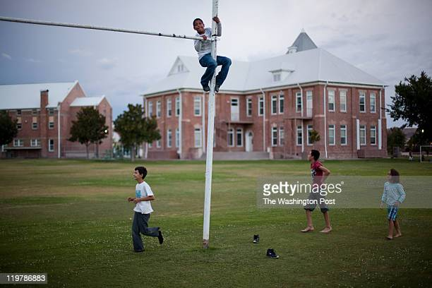 Children play on the school yard in Colonia Juarez Mexico in July 2011 United States Presidential candidate Mitt Romney's family migrated to Mexico...