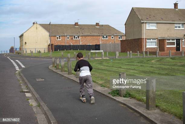Children play on the streets of the Headlands area of Hartlepool on September 4 2017 in Hartlepool England Hartlepool in the North East of England is...