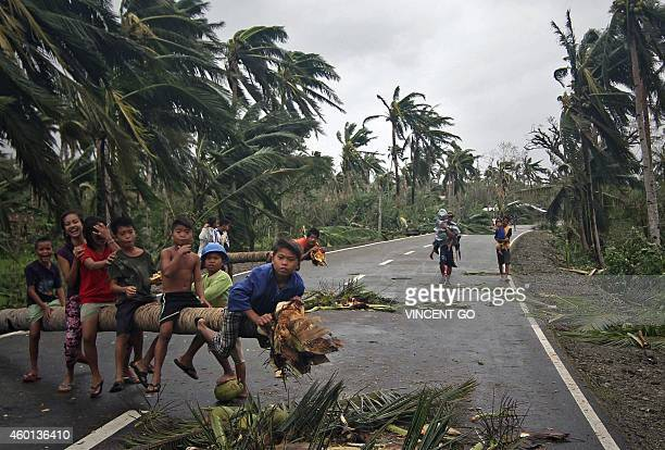 Children play on top of a fallen coconut tree blocking a highway in San Julian town Eastern samar province central Philippines on December 8 2014 in...