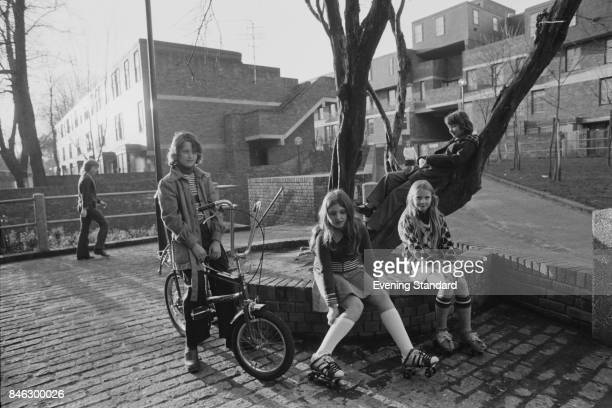 Children play outside near Marquess Road Islington London UK 14th January 1975