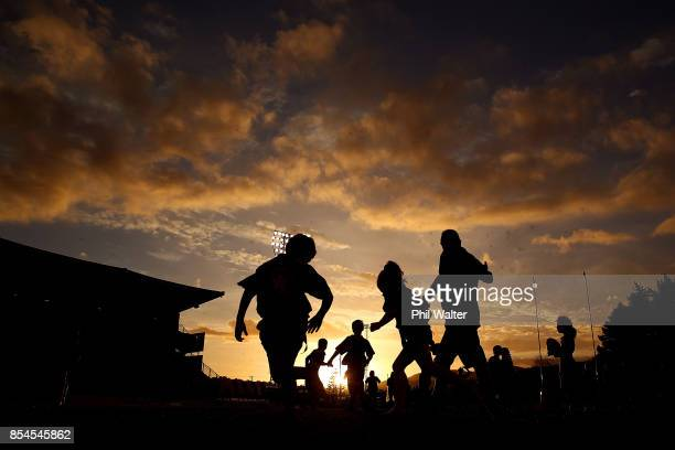 Children play Rippa Rugby before the round seven Mitre 10 Cup match between Northland and Otago at Toll Stadium on September 27 2017 in Whangarei New...