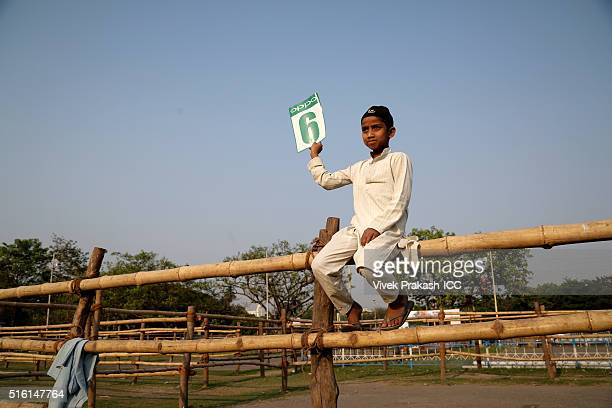 Children play street cricket outside the stadium before the ICC World Twenty20 India 2016 match betweenSri Lanka and Afghanistan at Eden Gardens on...