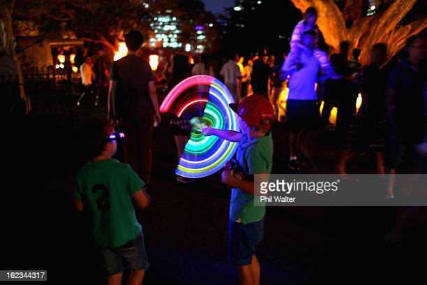 Children play with glowsticks in Albert Park during the Chinese Lantern Festival on February 22 2013 in Auckland New Zealand The Auckland lantern...