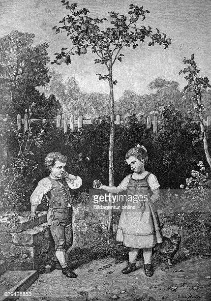 Children playing adam and eve historical illlustration about 1886