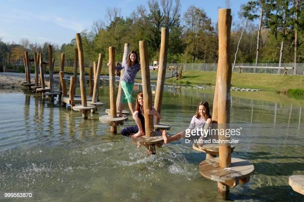 children playing at the erlebnispark wasser fisch natur adventure park, at murner see lake, near wackersdorf, upper palatinate lake district, upper palatinate, bavaria, germany - natur photos et images de collection