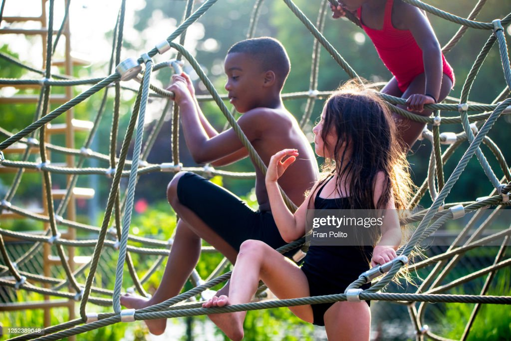 Children playing at the park. : Stock Photo