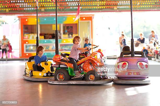 Children playing bumper cars