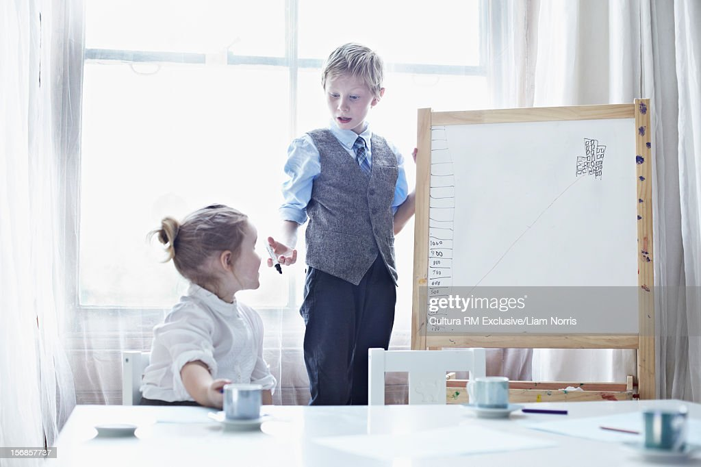 Children playing business meeting : Stock Photo
