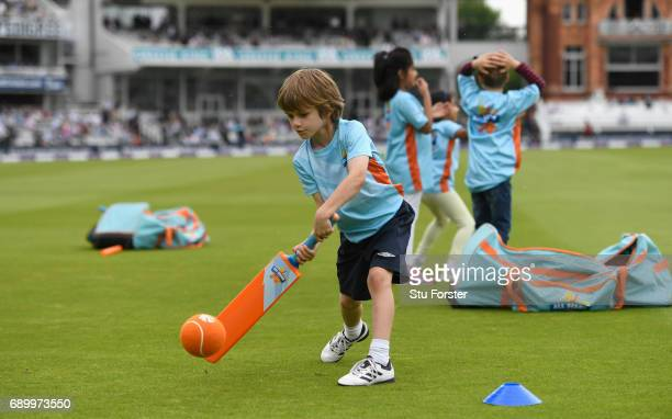 Children playing ECB All Stars Cricket at the interval during the 3rd Royal London Cup match between England and South Africa at Lord's Cricket...