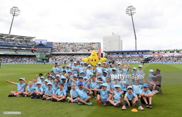 Children playing ECB All Stars Cricket during day one of the First Specsavers Test Match between England and India at Edgbaston on August 1 2018 in...