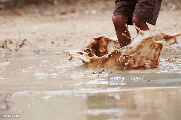 Children Playing Freedom Rainwater Puddle Splashing