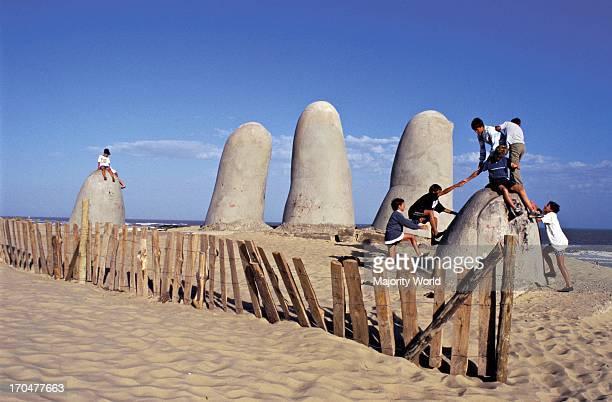 Children playing games Playa Brava Punta Del Este Uruguay