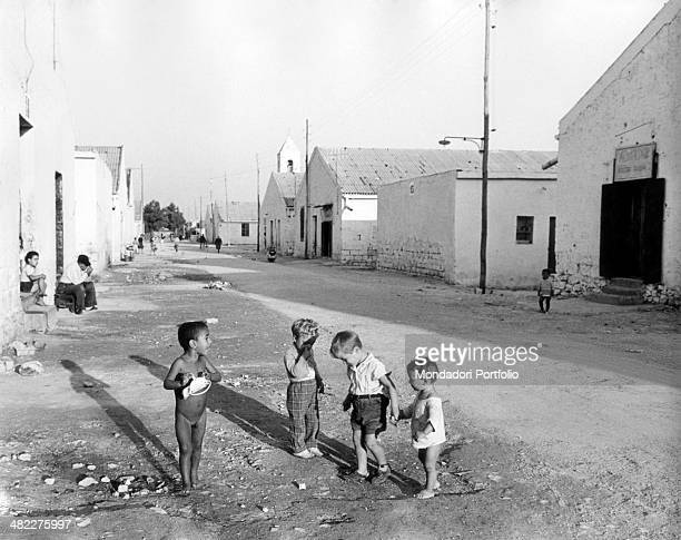 Children playing in a street of Bari The city knew a building boom and more than a hundred thousand rooms were built up in five years Bari 1950s