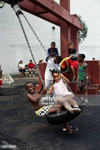 Children playing in Harlem neighborhood