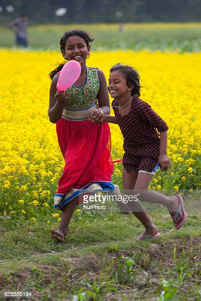 Children playing in mustered field on 2nd January 2015 in Munshigonj Bangladesh As winter deepens in this country that lies athwart the Tropic of...