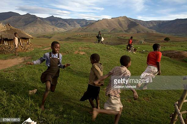 Children playing in the remote Masaleng village It is the home of Matiesetso Pahlabaki who is HIV positive and who her husband Mothakhi Pahlabaki who...