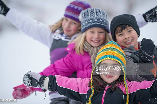 children playing in the snow - ice skate stock pictures, royalty-free photos & images