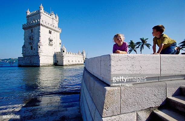 Children Playing Near Torre de Belem in Portugal