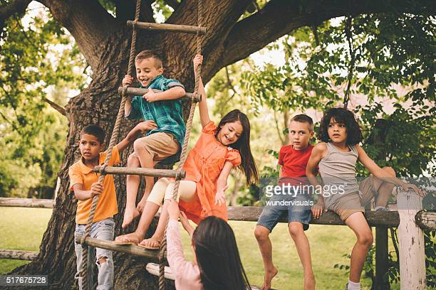 Children playing on fence and rope ladder in a park