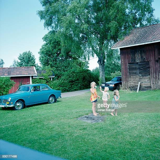 children playing on lawn - レクサンド ストックフォトと画像