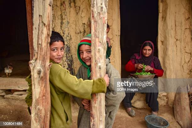 MAIDAN BUDGAM JAMMU KASHMIR INDIA Children playing outside of their mud house while their mother watches them in Tosa Maidan Tosa Maidan is a...
