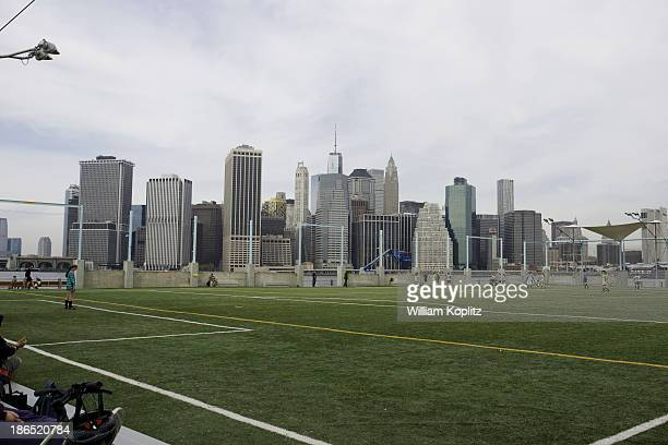CONTENT] Children playing soccer at one of the new fields on pier 6 in Brooklyn NYC with Lower Manhattan in the background